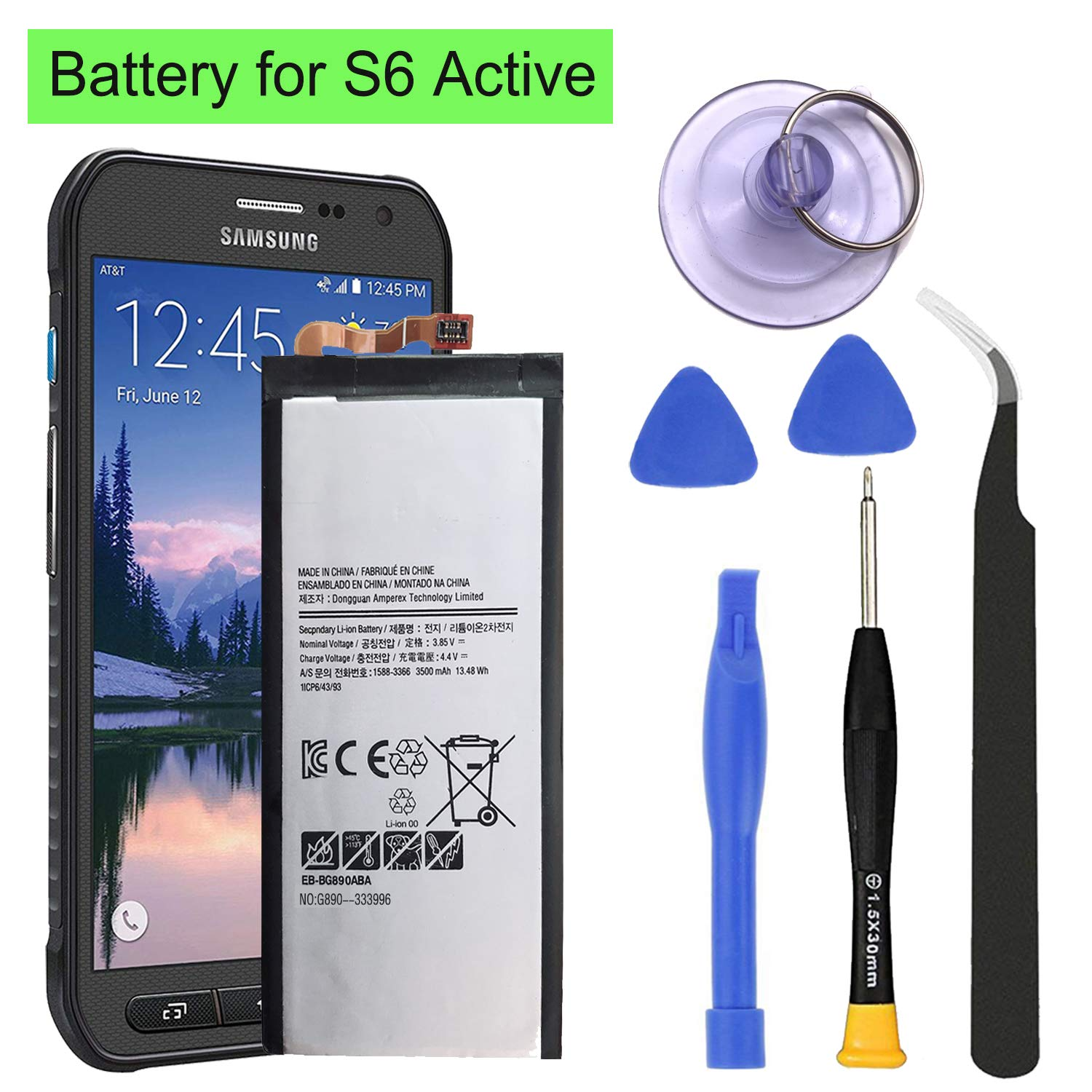 HDCKU S6 Active Battery Replacement Kit for Samsung Galaxy S6 Active G890 G890A EB-BG890ABA Battery 3500mAh 1 Year Warranty by HDCKU