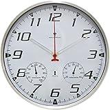 ottostyle.jp 電波掛け時計 掛時計 【ホワイト/白】 温度計/湿度計付き アラビア数字 アルミフレーム 見やすいシンプルな文字盤 連続秒針 サイレントムーブ 電波時計