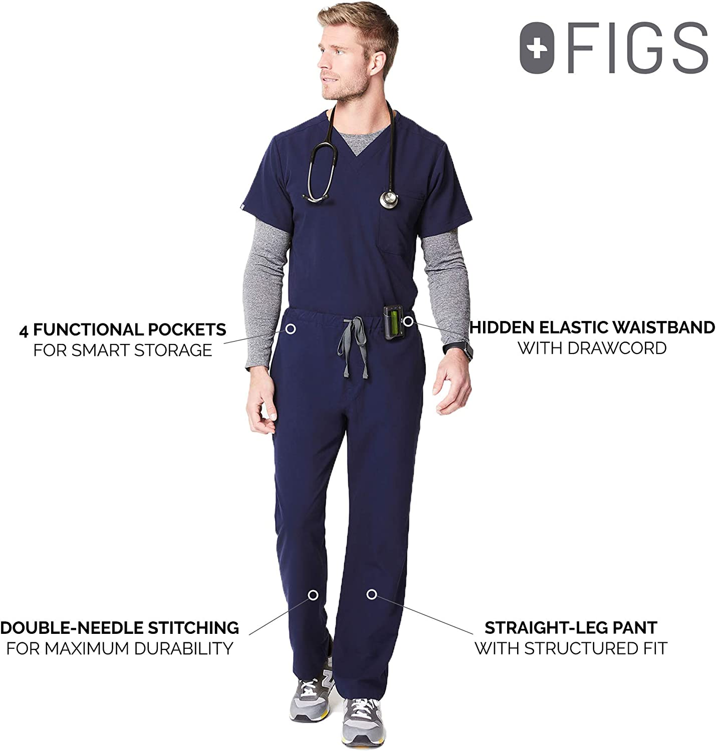 FIGS Pisco Basic Scrub Pants for Men – Tailored Fit, Super Soft Stretch, Anti-Wrinkle Medical Scrub Pants: Clothing