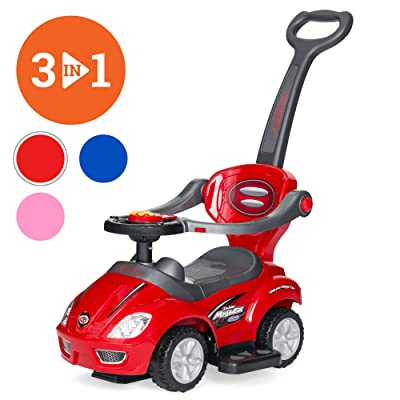 Best Choice Products 3-in-1 Kids Push and Pedal Toddler Ride On Wagon Play Toy Stroller w/ Sounds, Handle, Horn - Red: Toys & Games