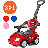 Best Choice Products 3-in-1 Kids Push and Pedal Toddler Ride On Wagon Play Toy Stroller w/ Sounds, Handle, Horn - Red