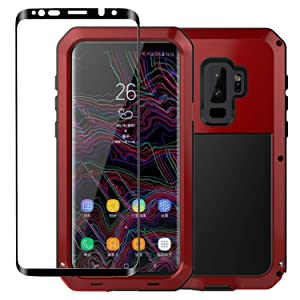 Galaxy S9 Plus Case, Armor Tank Aluminum Metal Shockproof Military Heavy Duty Protector Cover Hard Case and Tempered Glass Screen Protector [Full Screen Coverage] for Samsung Galaxy S9 Plus(Red)