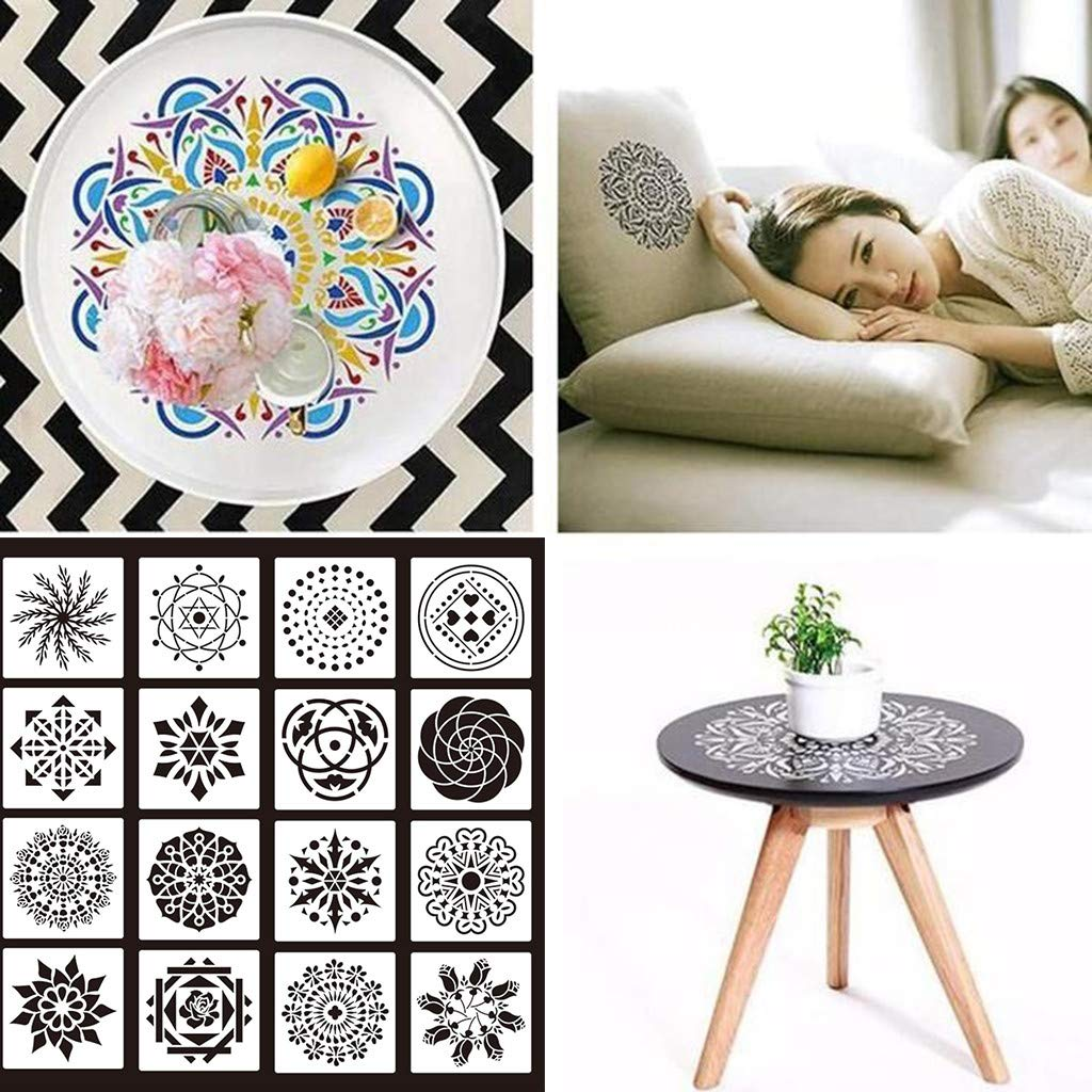Rock A Hollow Plastic Painting Template for Painting on Wood Airbrush and Walls Art Stone Fabric 16pcs Mandala Stencils Template Set