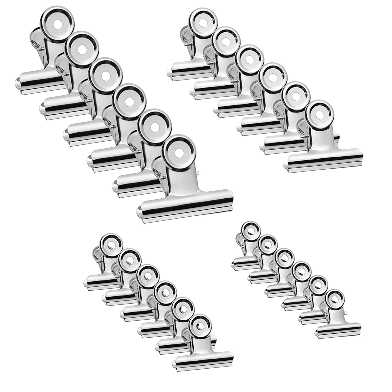 Gydandir 24 Pieces Heavy Duty Stainless Steel Clips for Pictures, Photos, Money, Files Organizing, Food Bag Sealing, Home Kitchen Office School Supplies Useage (4 Sizes)