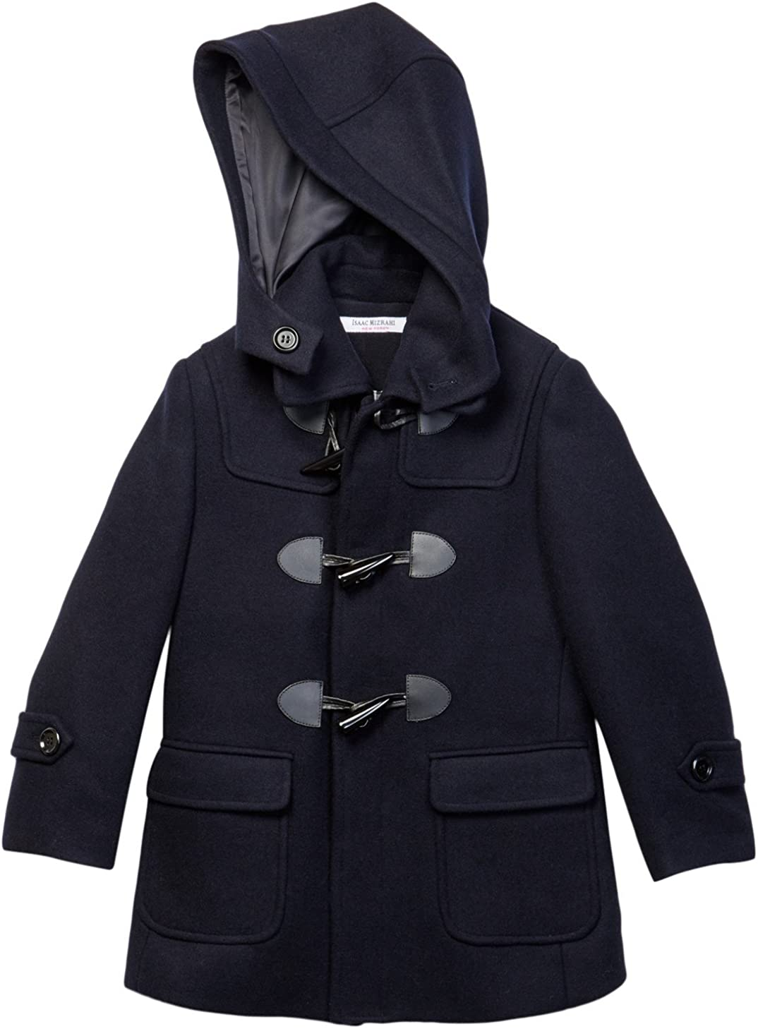Isaac Mizrahi Boys 2-20 Solid Wool Toggle Coat with Removble Hood Colors