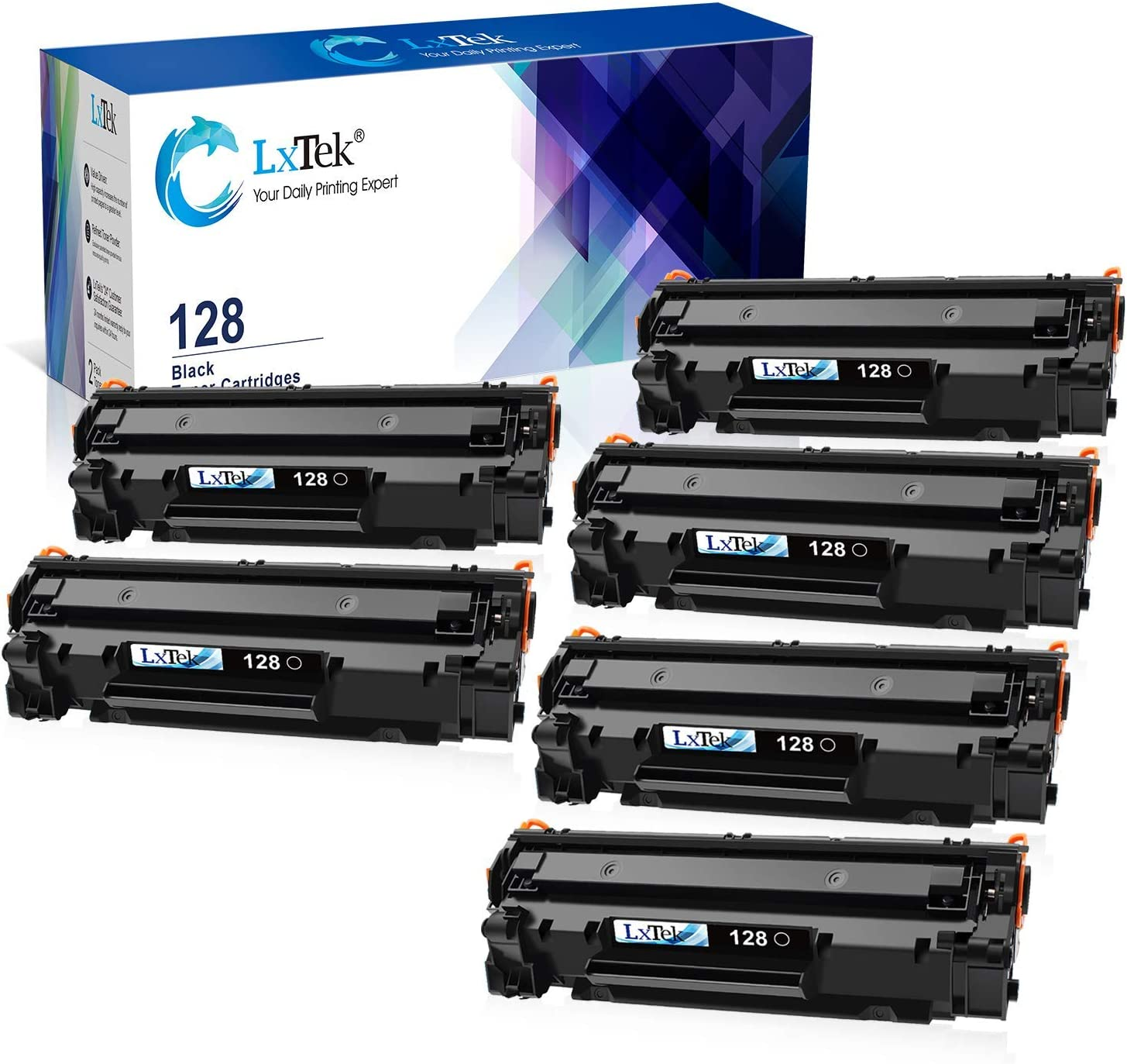 LxTek Compatible Toner Cartridge Replacement for Canon 128 CRG128 2 Black Bundled with 4 Black (Total 6 Pack)