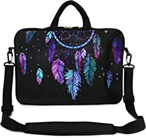 "Violet Mist 13"" 15"" 15.6"" Neoprene Laptop Sleeve Bag Waterproof Sleeve Case Adjustable Shoulder Strap External Pocket(14"