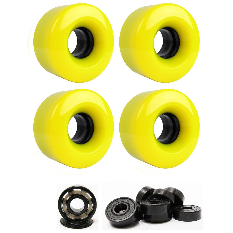 スケートボードクルーザーWheels 54 mm x 32 mm 83 a 012 Cイエローセラミック軸受   B01I29J5PG