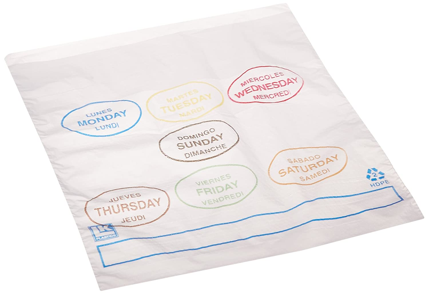 Elkay Plastics PCAD6507 Portion Control Saddle Pack Bags Printed All Days, 6 1/2