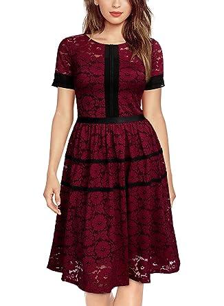 Miusol Vintage Encaje Floral Slim Cóctel Vestido para Mujer Vino Rojo  XX-Large  Amazon.es  Ropa y accesorios 66fd8656e795