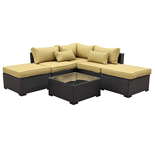 Rattaner Outdoor Wicker Sofa Set- 6 Piece Patio Garden Sectional PE Rattan Furniture with Olive Green Cushion