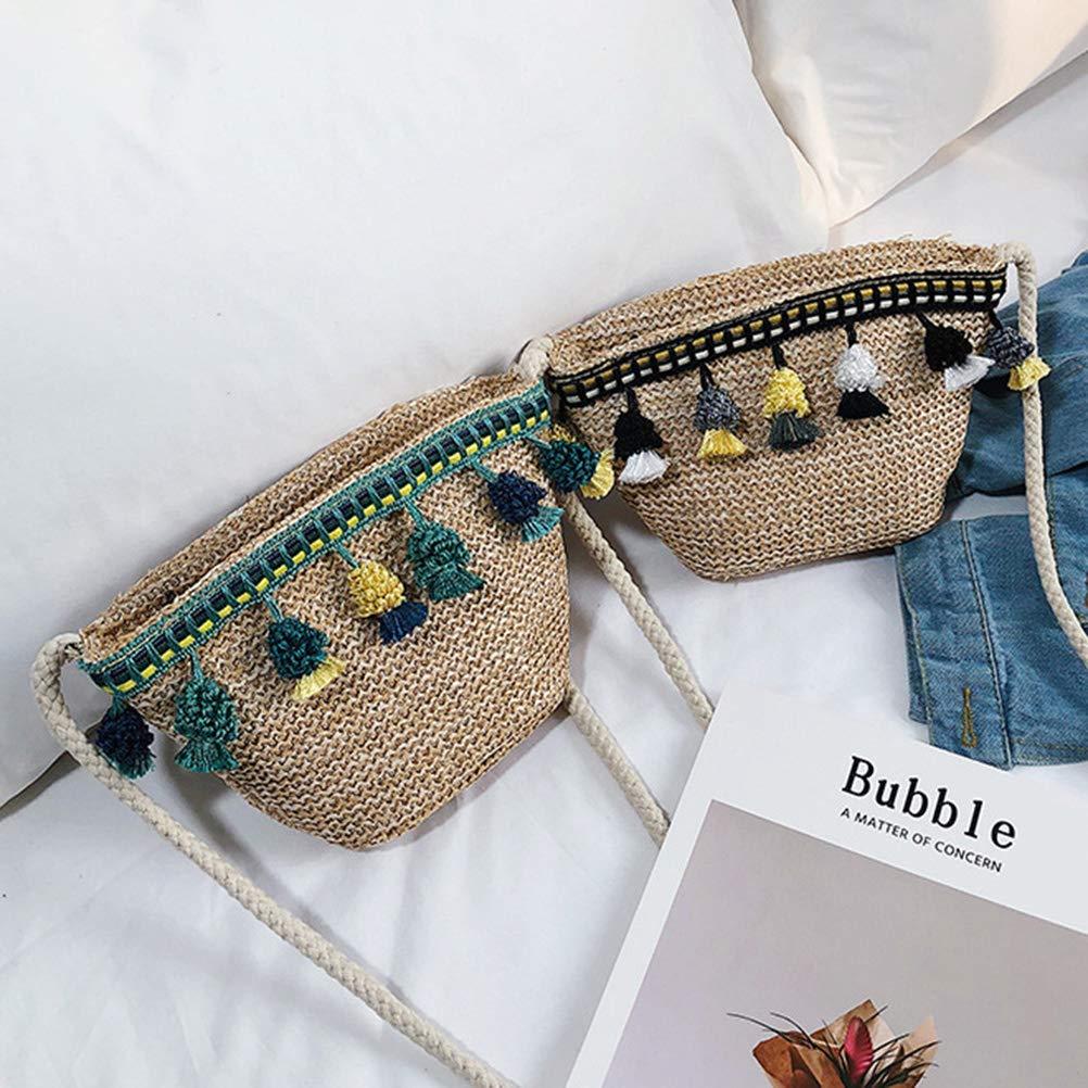 Bolso de paja Bandolera con bandolera bandolera Bolso de playa tejido a mano para mujeres ni/ñas