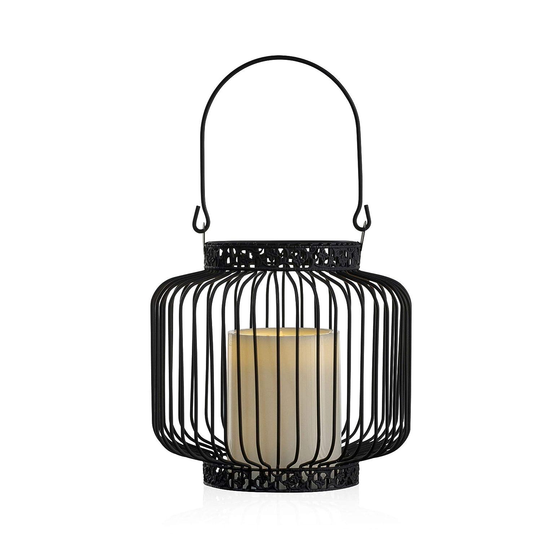 M/étal Pauleen 480.14 48014 Soul Bougie LED Effet vacillant Chaud Lanterne dext/érieur d/éco Noir Blanc IP44 Tissu//Verre
