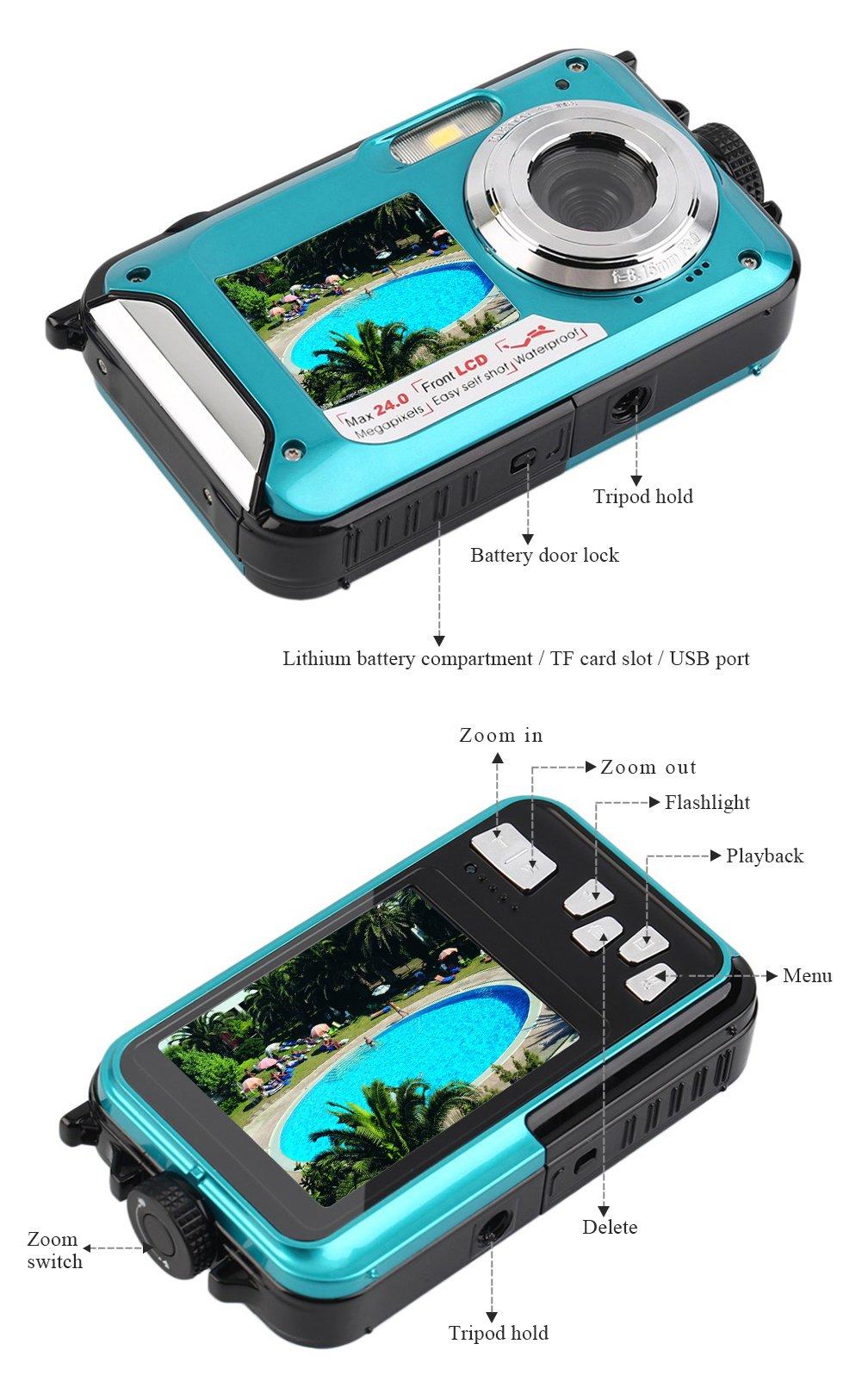 YISENCE Waterproof Digital Camera 24MP Underwater Camcorder Video Recorder FULL HD 1080P Selfie Dual Screen DV Recording … (C8) by YISENCE (Image #5)