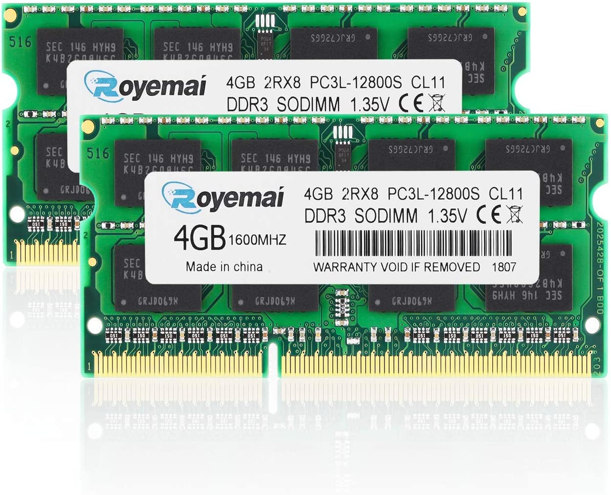 ROYEMAI 8GB (2x4GB) PC3 / PC3L-12800 Sodimm DDR3 / DDR3L 1600MHz 1.35V/1.5V CL11 2RX8 Non ECC Unbuffered RAM Memory Module for Laptop
