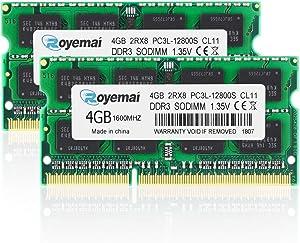 ROYEMAI 8GB (2x4GB) PC3 / PC3L-12800 Sodimm DDR3 / DDR3L 1600MHz 1.35V/1.5V CL11 2RX8 Non ECC Unbuffered RAM Memory Module for Laptop