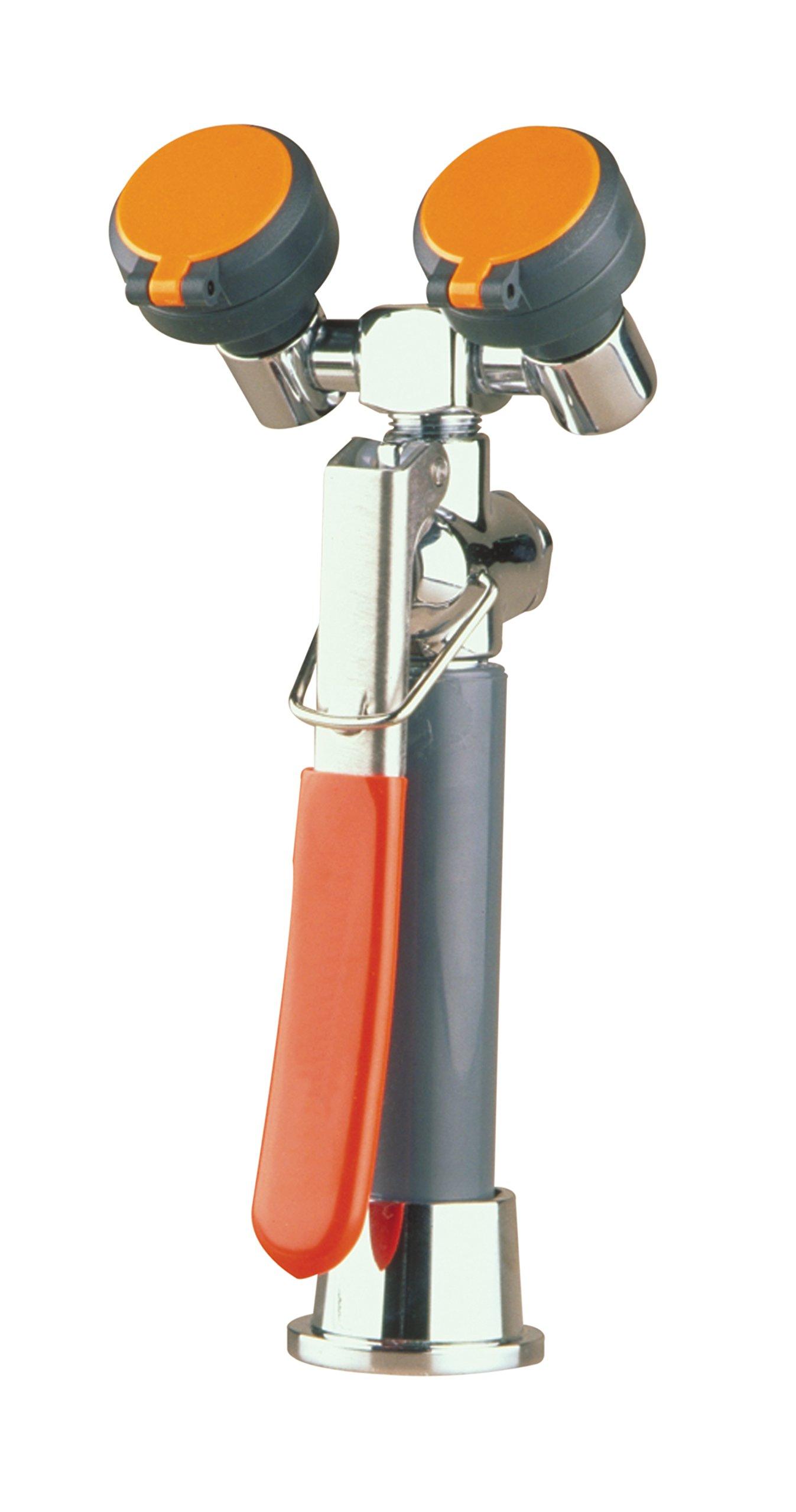 WaterSaver EW1022 Hands Free Eyewash/Drench Hose Unit with Flip-Top Spray Head, Deck Mount