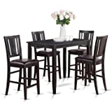 East West Furniture BUCK5-BLK-LC 5-Piece Gathering Table Set, Black Finish
