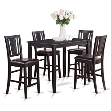 East West Furniture BUCK5 BLK LC 5 Piece Gathering Table Set, Black