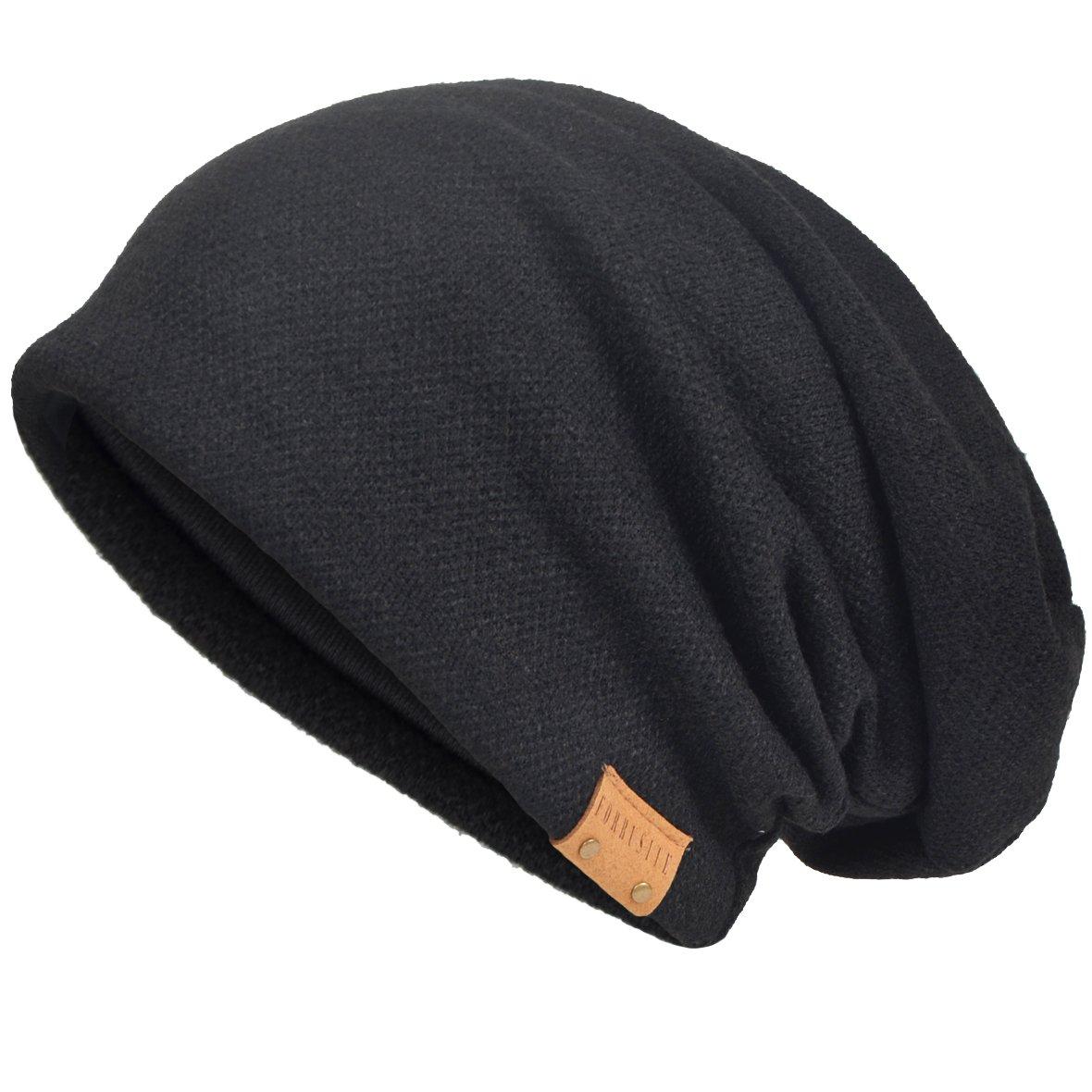 VECRY Men's Cool Cotton Beanie Slouch Skull Cap Long Baggy Hip-hop Winter Summer Hat (Black)