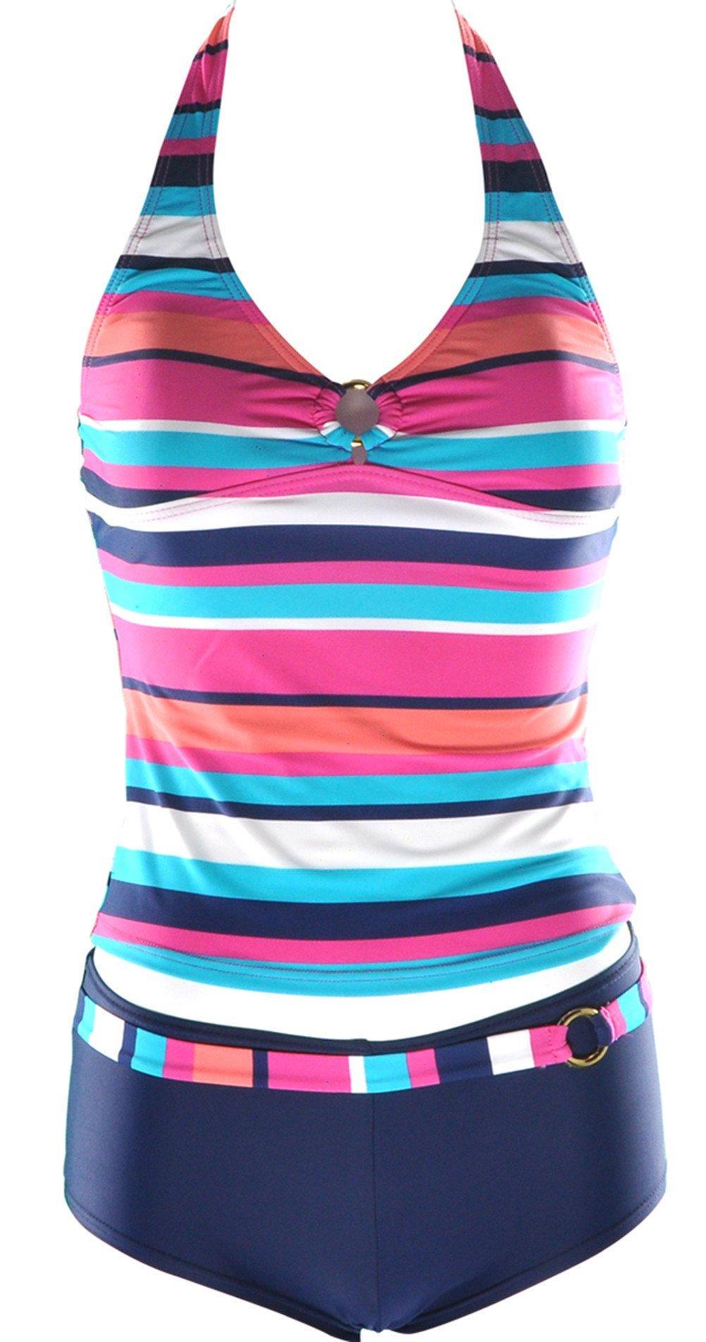 Charmleakswomen 39 s multi colored stripe boyleg two piece tankini set swimwear 12 4105548693298 ebay for Rainbow color stripe watch