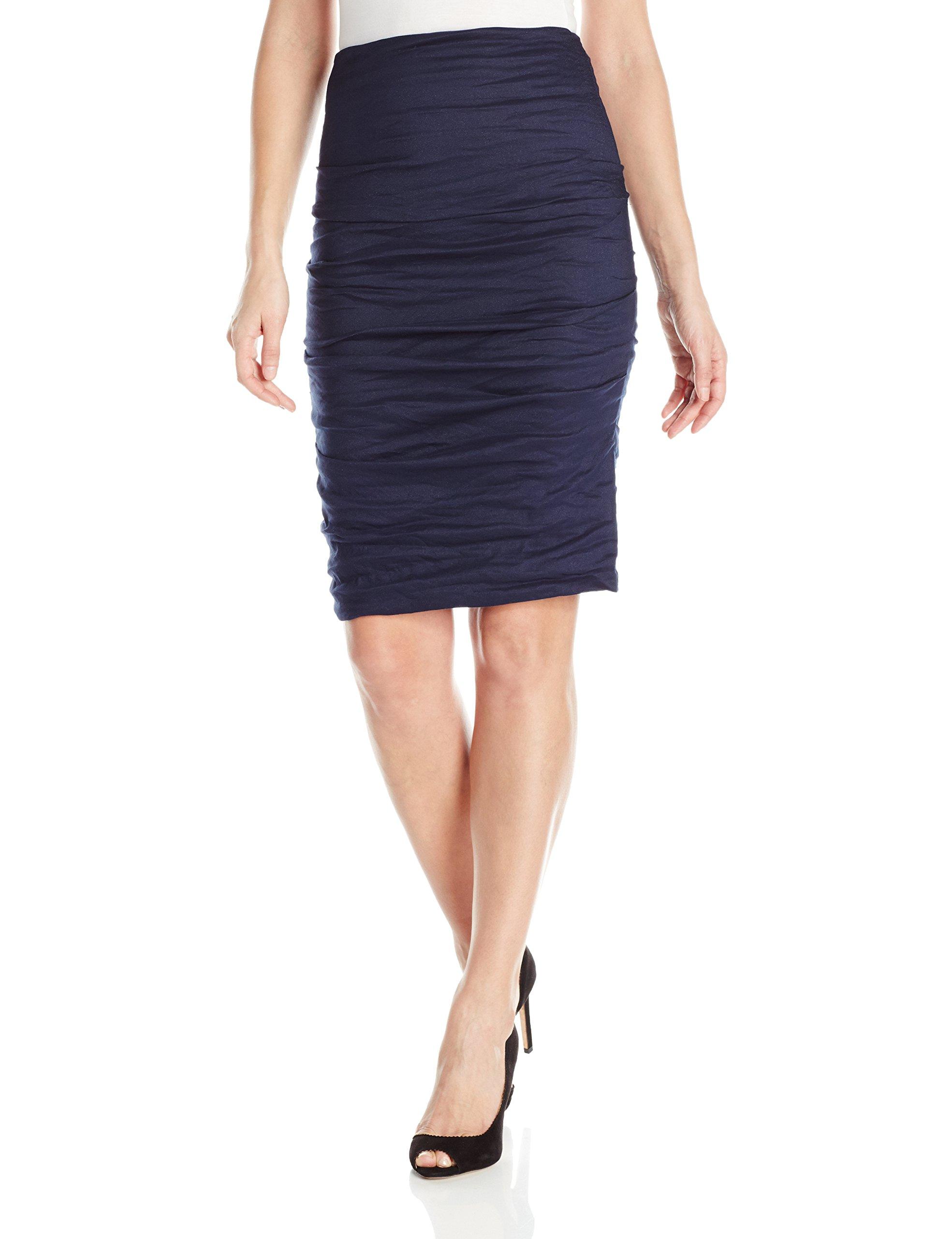 Nicole Miller Women's Sandy Metal Pencil Skirt, Navy/Navy, 0