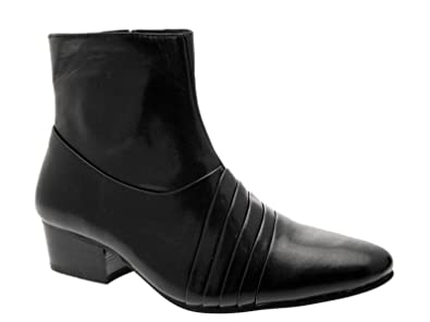 6646563418be Lora Dora MENS SMART BLACK CUBAN HEELS CHELSEA ANKLE BOOTS FORMAL WEDDING  OFFICE WESTERN FAUX LEATHER SIZE UK 6-11  Amazon.co.uk  Shoes   Bags