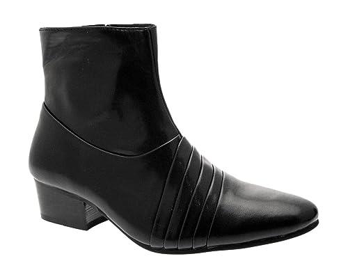 Herren Stiefel mit Kuba Absatz Eleganter Western Stil Schwarz