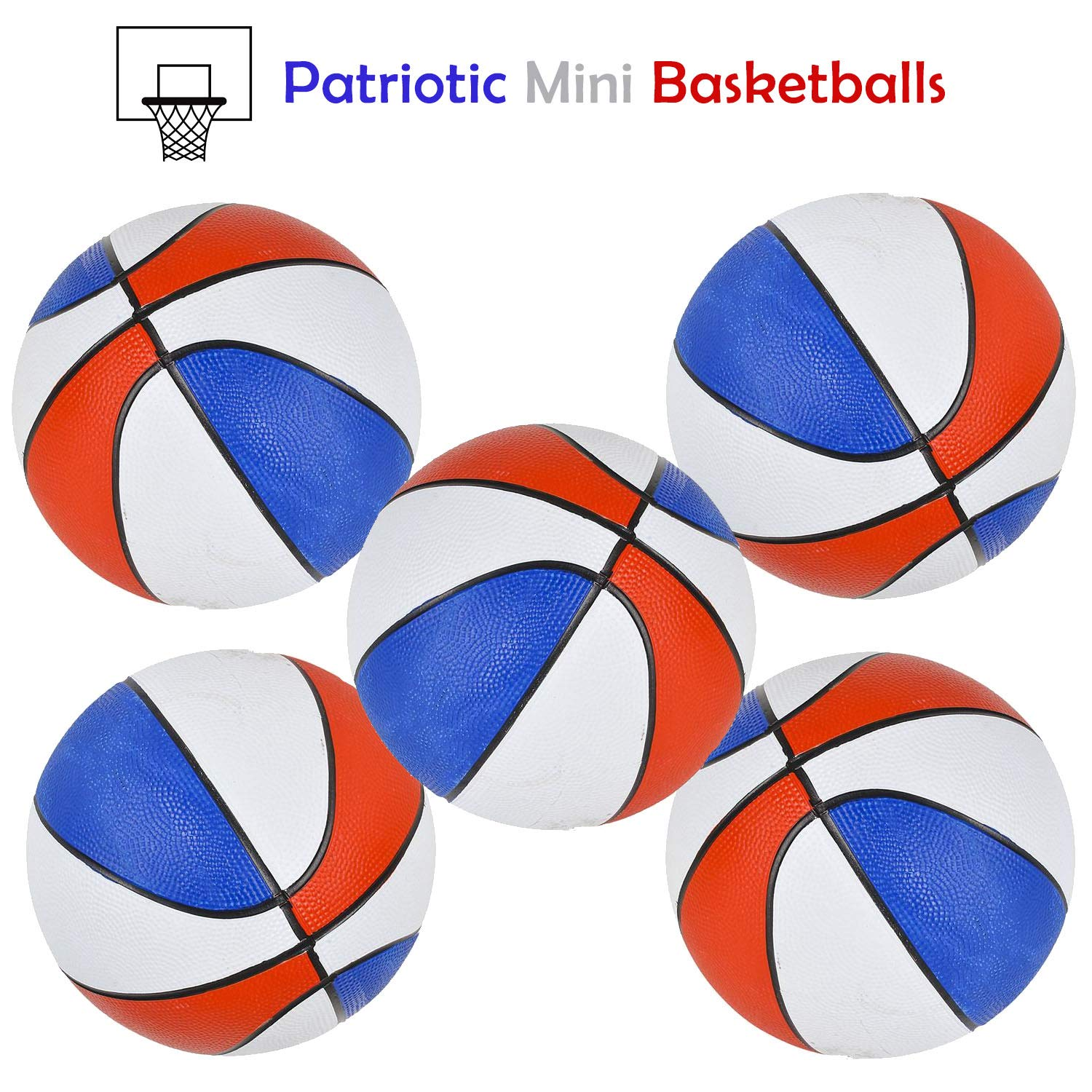 Bottles N Bags Mini Basketballs | Patriotic Red, White & Blue | 7'' Mini Basketball for Indoor and Outdoor Fun Shooting Hoops ● Awesome Game Prizes ● Made of Durable Rubber (10 Pack) by Bottles N Bags