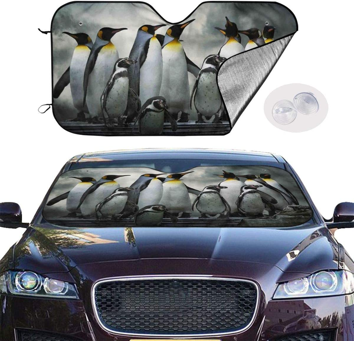 51.2 X 27.5 Kejbr Penguins Family Car Windshield Sun Shade Window Windscreen Cover Universal Fit Car UV Ray Sun and Heat Visor Protection