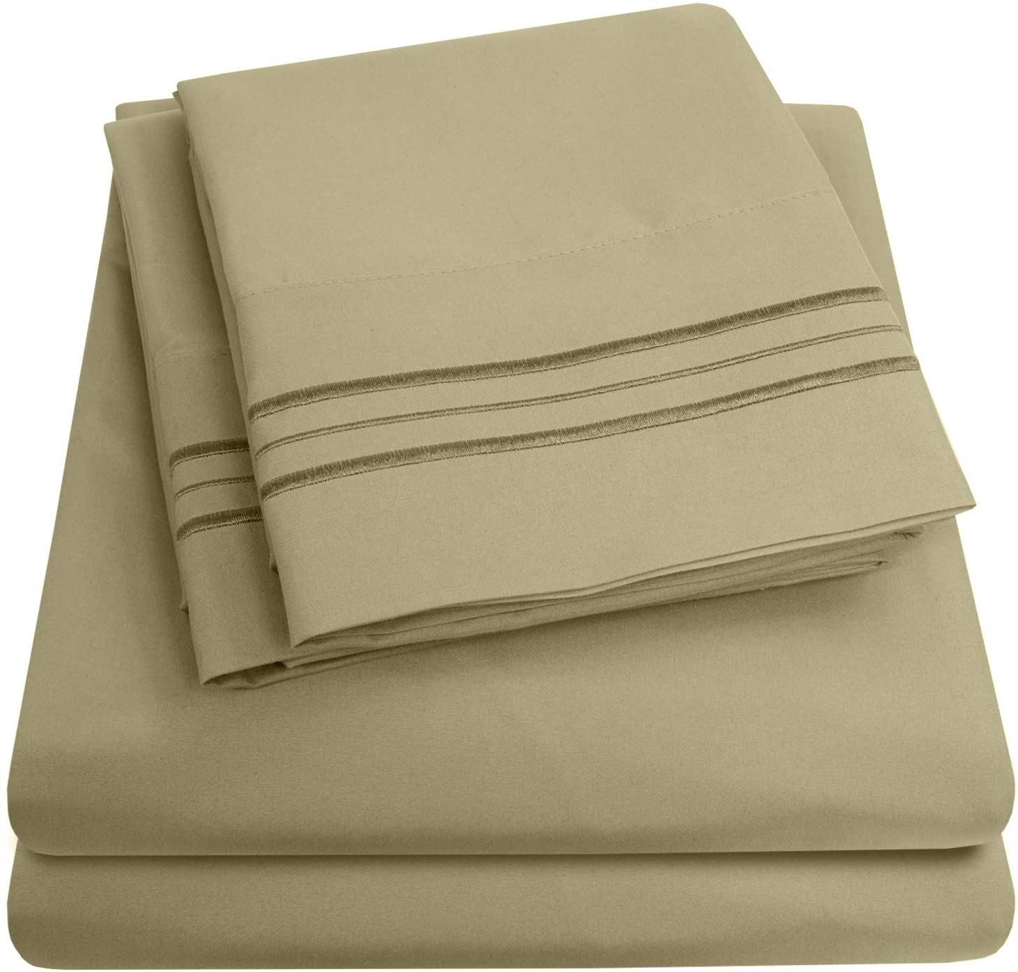 1500 Supreme Collection Extra Soft Split King Sheets Set, Sage - Luxury Bed Sheets Set with Deep Pocket Wrinkle Free Hypoallergenic Bedding, Over 40 Colors, Split King Size, Sage