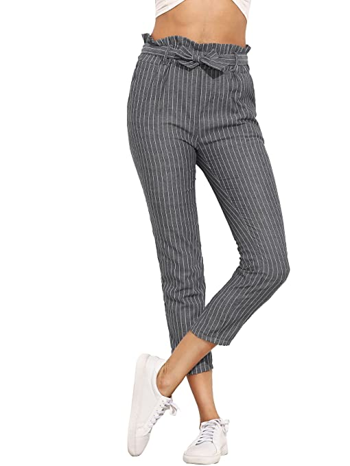 7dc6b77414 SheIn Women's Ruffle Tie Waist Pants with Pockets at Amazon Women's  Clothing store: