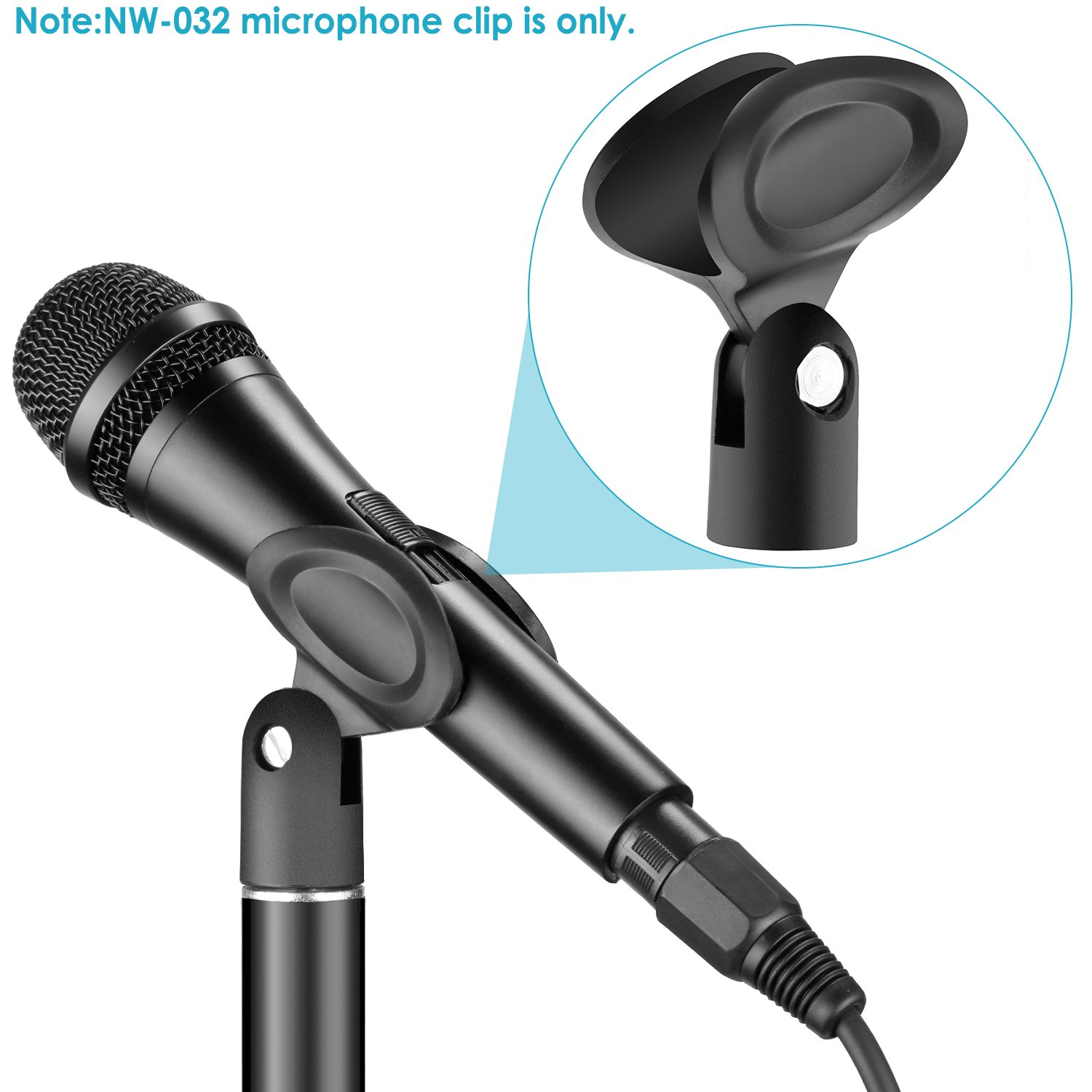 Neewer NW-032 Universal Microphone Clip Holders with 5//8-Inch Male to 3//8-Inch Female Metal Nut Adapters for Handheld Microphones Black