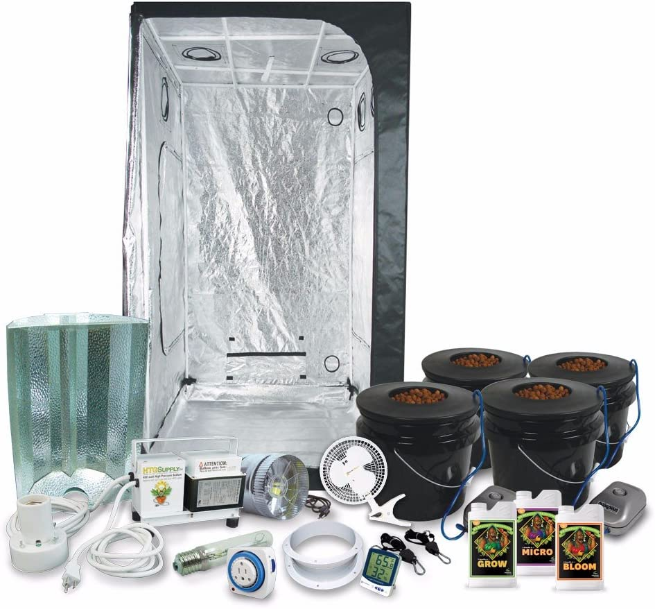 HTGSupply 3 x 3 39 x39 x79 Grow Tent Kit Complete with 400-Watt HPS Grow Light DWC Hydroponic System Advanced Nutrients