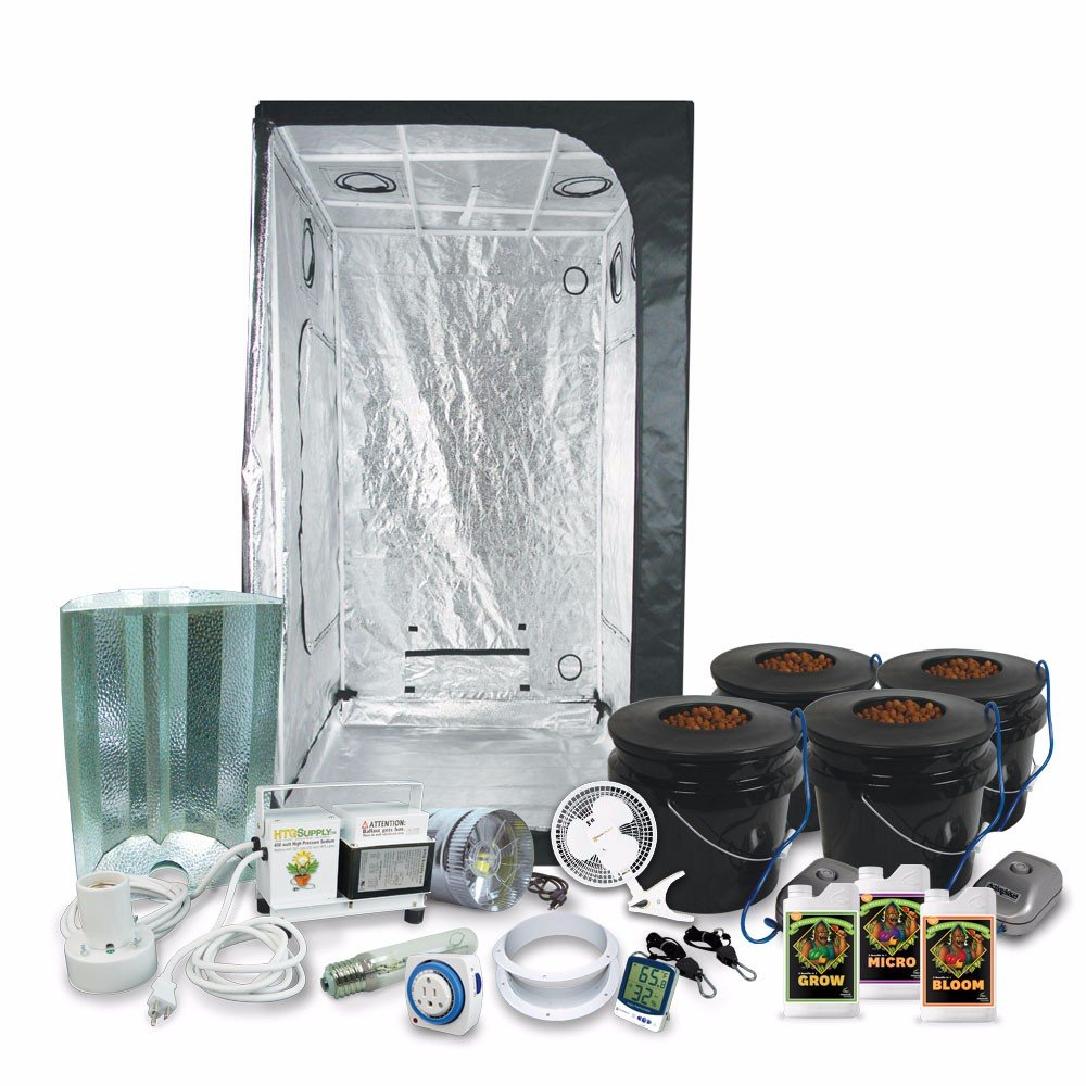 HTGSupply 3 x 3 (39''x39''x79'') Grow Tent Kit Complete with 400-Watt HPS Grow Light + DWC Hydroponic System & Advanced Nutrients