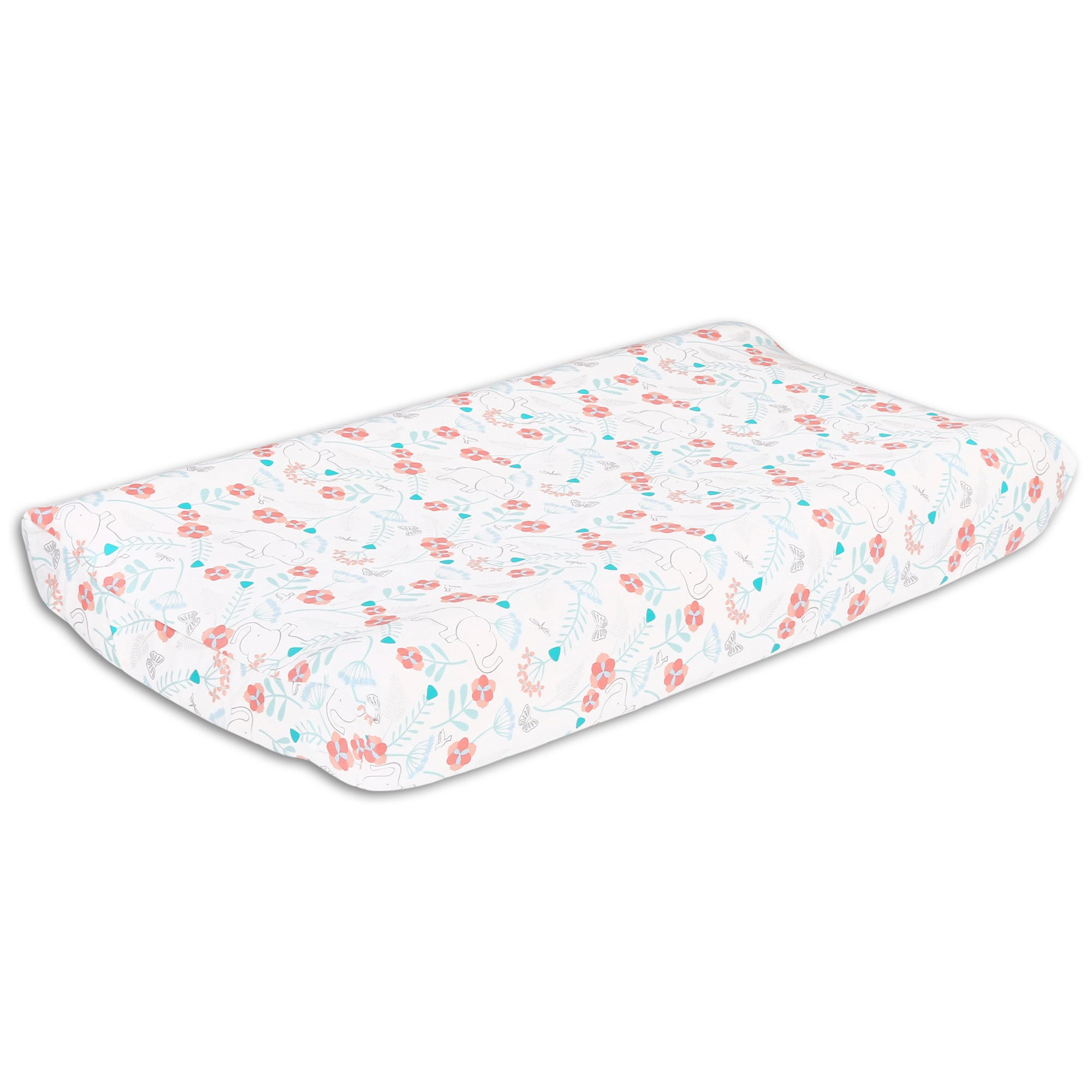 Safari Love Elephant Garden Baby Girl Changing Pad Cover by The Peanut Shell