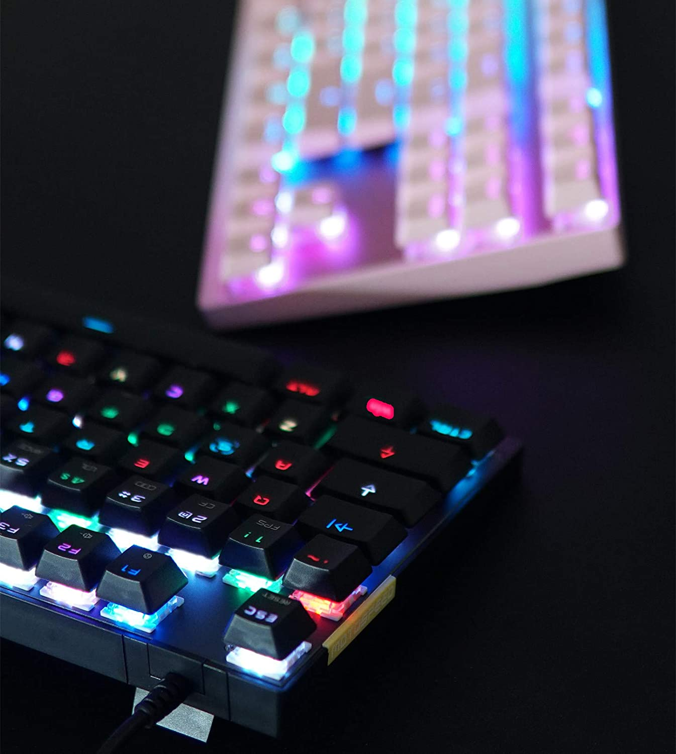 MOTOSPEED Gaming Mechanical Keyboard RGB Rainbow Backlit 87 Keys Illuminated Computer USB Gaming Keyboard with Red Switches for Mac//PC//Laptop Pink