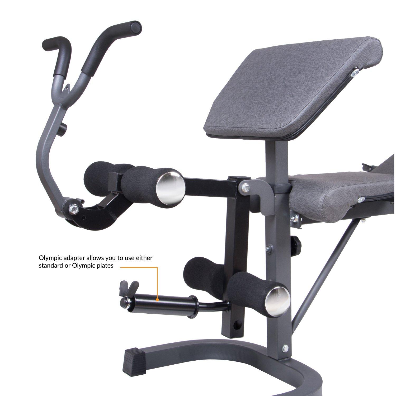 Cuerpo Champ bcb5860 Banco de Pesas con púlpito, desarrollador de Pierna y AB Crunch Mango/Gimnasio en casa Fitness: Amazon.es: Deportes y aire libre