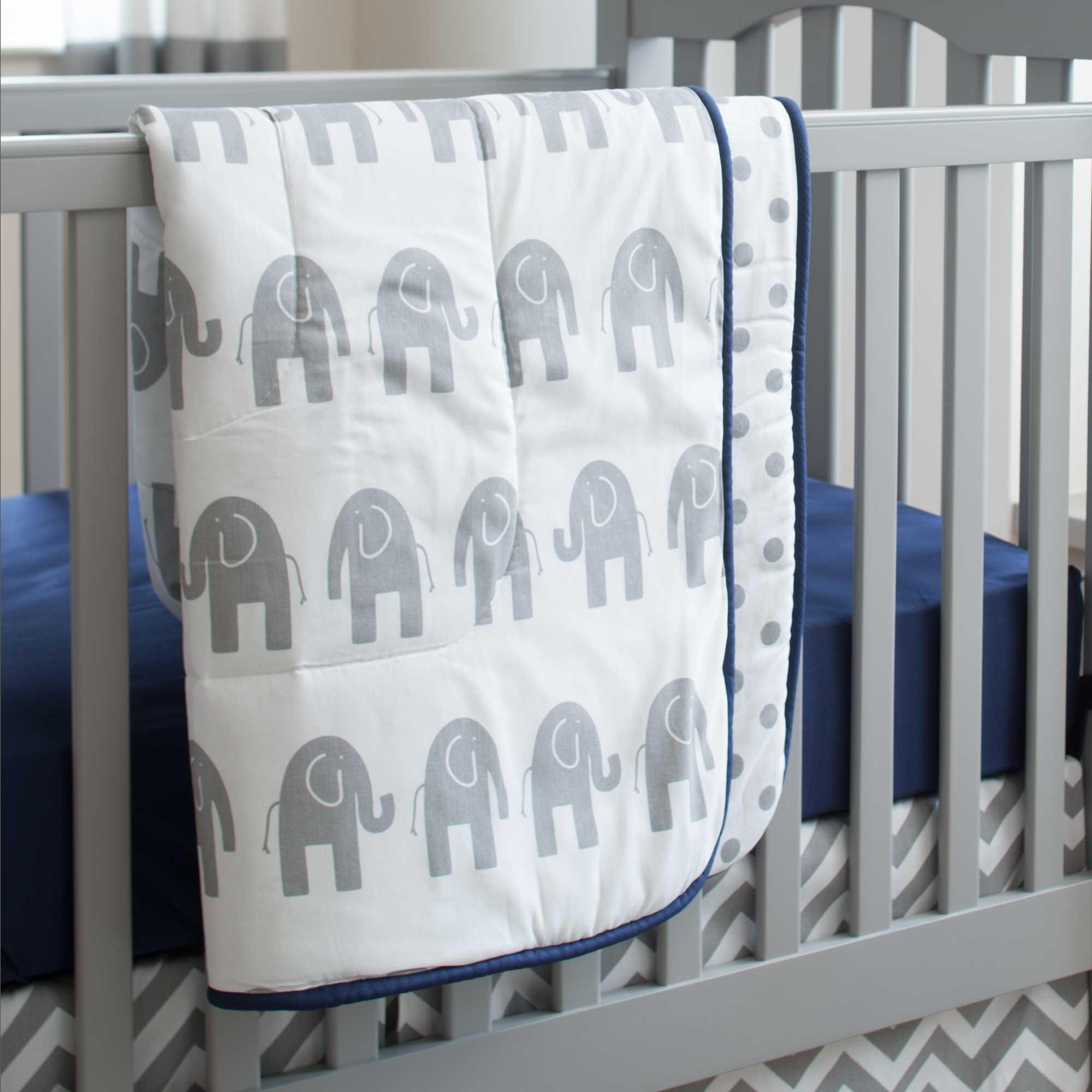 Carousel Designs Navy and Gray Elephants Crib Comforter