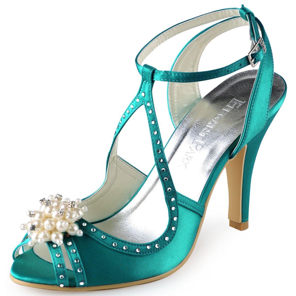 Elegantpark EP11058 Bout Aiguille Ouvert Satin Perle 19614 Strass Aiguille Mariage Talon Pumps Femme Sandales Chaussures de Mariage Sarcelle cc6b5a1 - latesttechnology.space