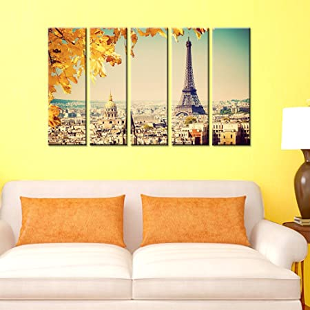 Wall Mantra Home Decorative Eiffel Tower 5 Panel Canvas Wall Art ...