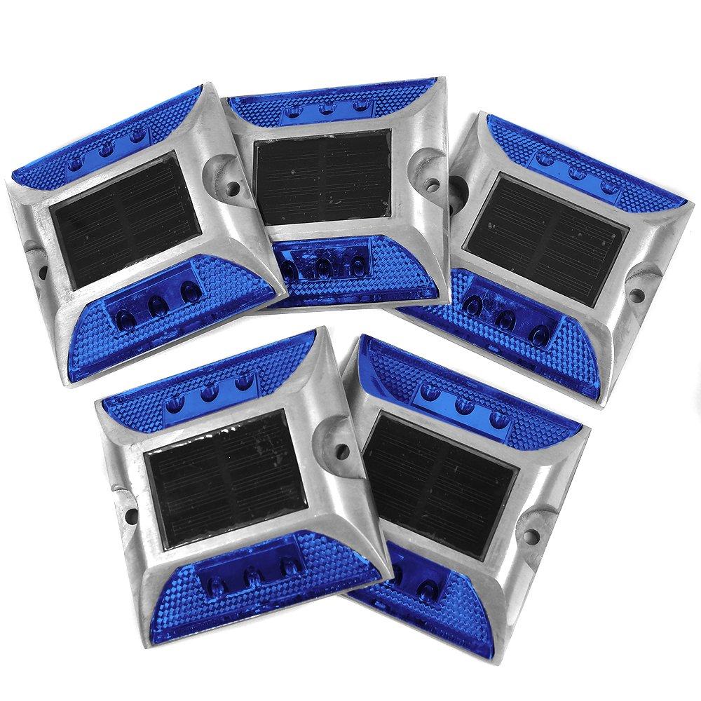 iimono117 ソーラー充電式 LED道路鋲 / センターライン 駐車場 縁石 反射板 視線誘導 (5, 青) B0795P66QB 13600 青|5 青