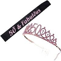 KESYOO 2pcs 50th Birthday Tiara and Sash 50 and Fabulous Sash Rhinestone Tiara Set 50 Birthday Gifts Party Favor…