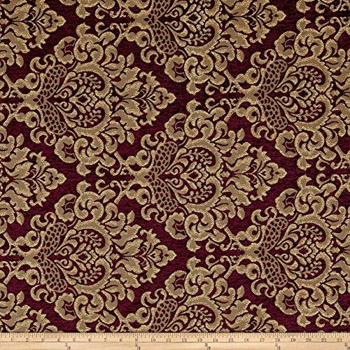 Fabric Damask Chenille Jacquard Wine Yard