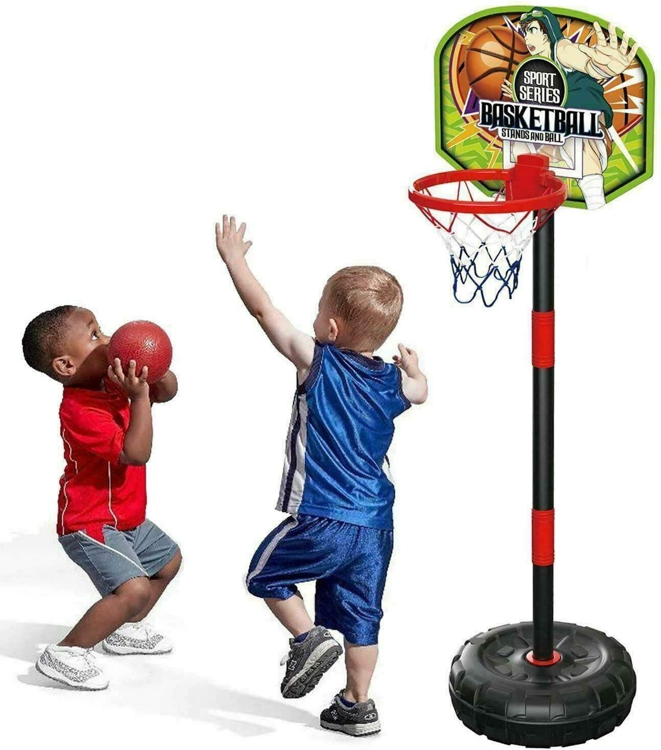 Kids Outdoor Indoor Summer Sports Mini Basketball Set With Pump Ball Stand