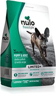Nulo Puppy & Adult Freestyle Limited Plus Dry Dog Food: All Natural Ingredient Diet For Digestive & Immune Health - Allergy Sensitive Non Gmo (Alaska Pollock & Lentils Recipe - 4 Lb Bag) (51LW04)