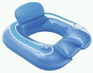 Asiento de natación con soporte para botellas de la piscina de isla de baño colchón de aire en colour azul: Amazon.es: Deportes y aire libre