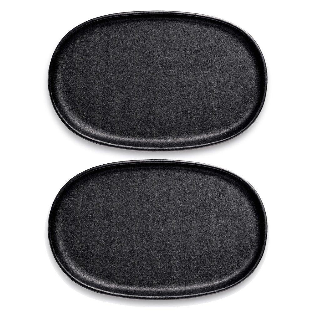 Gense 4628100 2 Pieces Design Studio Grill Plates Set, 300 X 195 Mm, Cast Iron, Black