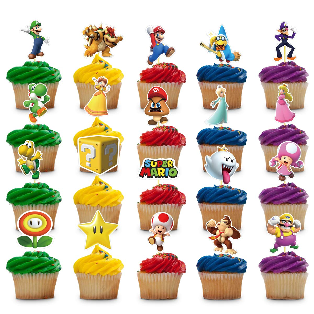 Amazon Com 40 Decorations For Super Mario Cupcake Toppers Set Birthday Cake Party Supplies Decor Toys Games