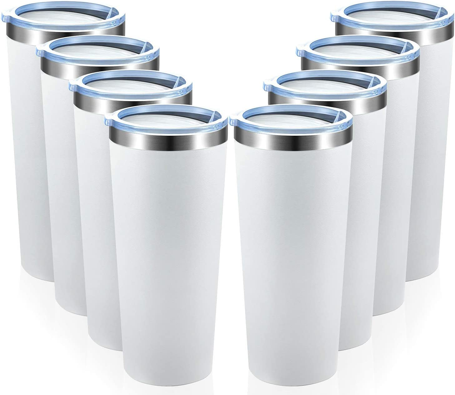MEWAY 22oz Tumbler 8 Pack Stainless Steel Travel Coffee Mug with Lids Double Wall Insulated Coffee Cup for Home, Office, Travel Great (White, 8 pack)